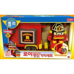 robocar poli deluxe roy transforming robot + base camp set