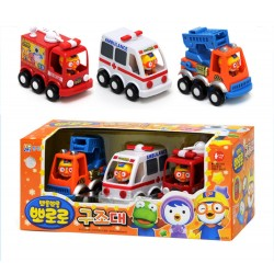 pororo cute mini cars 3 models toy set full back gear