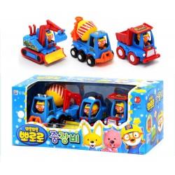 Pororo söta minibilar 3 modeller leksak set fullt backen