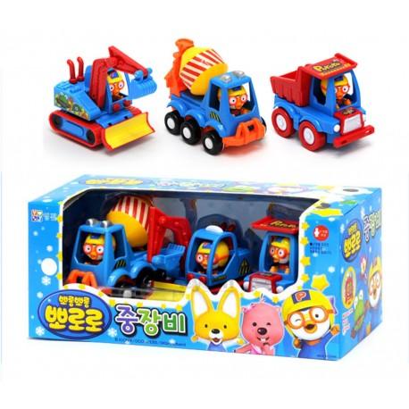 pororo cute mini cars 3 models toy set full back gear