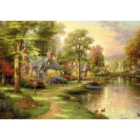 jigsaw puzzle hometown lake 1000pcs by thomas kinkade