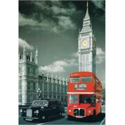 jigsaw puzzles 1000 gabali Londonā autobusu ainavā