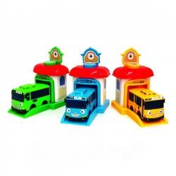 die kleinen Bus tayo Schießen Auto rogi tayo rani 3pcs mit der Aufnahme der Garage eingestellt