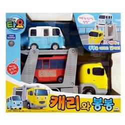 小さなバスtayoメインダイキャストプラスチックカーSET2車はおもちゃを運ぶとbongbong
