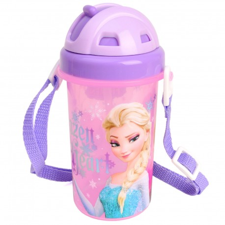 disney frozen kids sports water bottle cute slide top flip straw shoulder strap